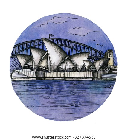 the Sydney watercolor hand drawing, famous architectural buillding isolated on the white background.  - stock photo