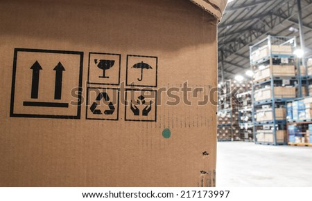 The symbol boxes in the warehouse - stock photo