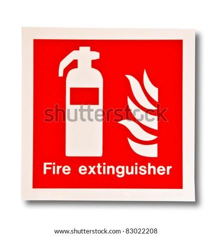 The Symbol of fire extinguisher isolated on white background - stock photo
