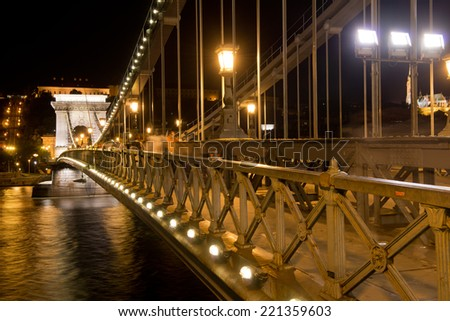 The szechenyi chain bridge on the danube, built at the end of the 19th century and one of the symbols of Budapest - stock photo