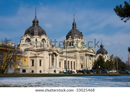 The Szechenyi spa in the Varosliget (main city park of Budapest) - stock photo