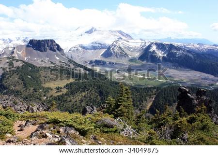 The Table And Mt. Garibaldi (Garibaldi Provincial Park, Coast Mountains, British Columbia, Canada) - stock photo
