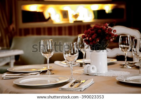 the table setting in restaurant close up