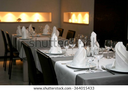 the table setting in restaurant Cutlery