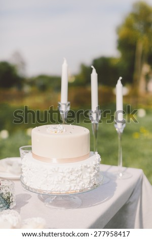 the table with the cake and wedding cake plates forks knives decor - stock photo