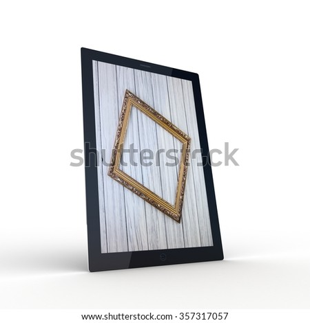 The tablet with wooden on the screen - stock photo