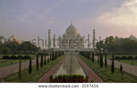 the Taj Mahal at sunrise - stock photo