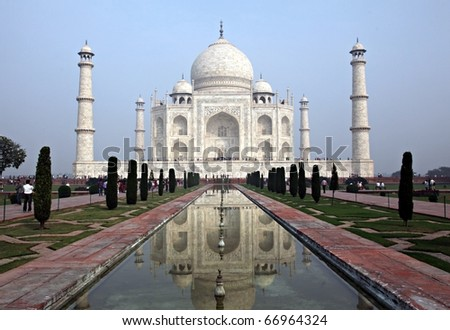 The Taj Mahal in Agra India - stock photo