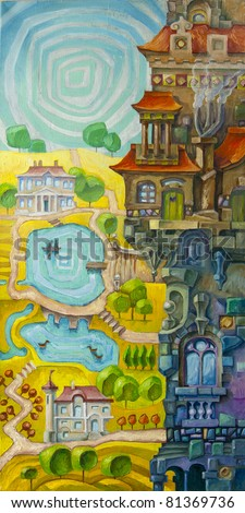 The tall whimsical building with a many architectural elements is situated in a foreground, and the sunny valley with the lakes and the stream is in a background. Artwork by Alex Tsuper. Oil on canvas - stock photo