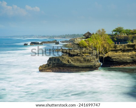 the Tanah Lot temple, in Bali island, indonesia - stock photo