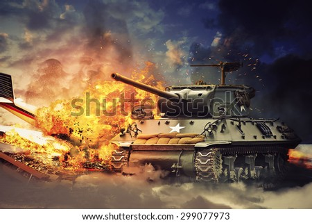 The tank exploded in an airplane - stock photo