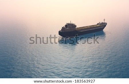 The  Tanker in the sea    - stock photo