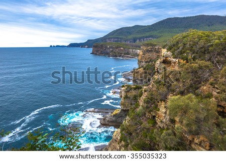 The Tasman National Park, offers some of the best coastal walks in the country and landscapes of the coast of the most spectacular of the Tasman Peninsula in the south east coast of Tasmania.  - stock photo
