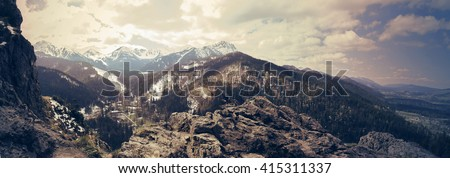 The Tatra Mountains. Panorama of polish mountains in spring. Vintage sepia colors - stock photo