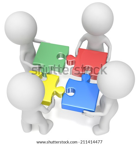 The Team. The dude x4 holding puzzle pieces. Red, green, blue and yellow. - stock photo
