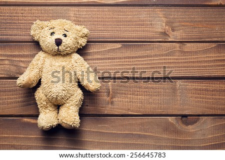 the teddy bear on wooden table - stock photo