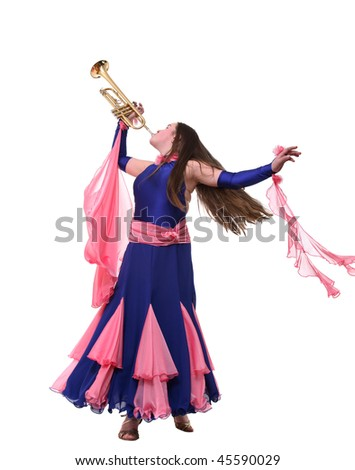 The teenager plays a wind musical instrument - stock photo