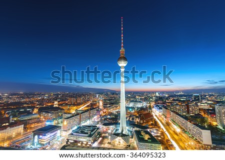 The Television Tower in Berlin at night - stock photo