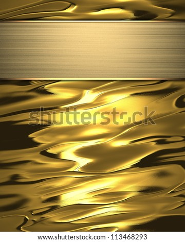 The template for the inscription. Beautiful gold background with a gold nameplate for writing. - stock photo