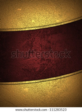 The template for the inscription. Beautiful gold background with a red nameplate for writing. - stock photo