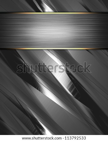 The template for the inscription. Metal Background with beautiful metal nameplate. - stock photo