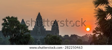 The temple complex of Angkor Wat. Cambodia.Dawn-dusk - stock photo