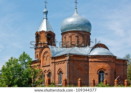 The Temple Dormition of the Theotokos in Moscow Region - stock photo