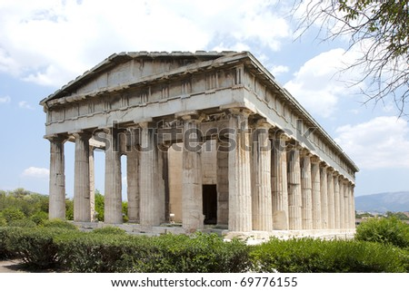 The Temple of Hephaestus  was begun in 449 BC, just two years before the Parthenon. - stock photo