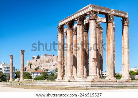 The Temple of Olympian Zeus and Acropolois in Athens, Greece - stock photo