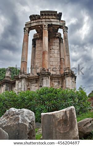 The Temple of Vesta in Rome, Italy - stock photo