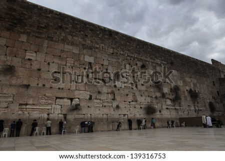 The temple western wall in jerusalem the most holly place for judaism - stock photo