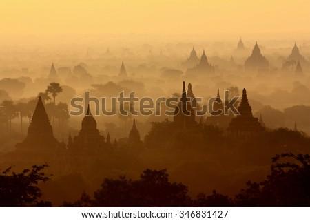 The Temples of Bagan, Myanmar (Burma) at dawn. - stock photo