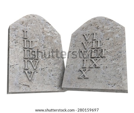 the ten Commandments isolated on a white background - stock photo