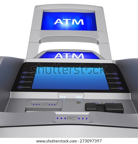 The terminal display and modern style. ATM for cash settlement services on a white background - stock photo