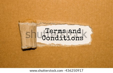 The text Terms and Conditions appearing behind torn brown paper - stock photo