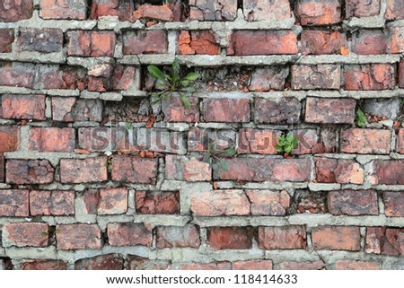 The texture of an old brick crumbling walls - stock photo