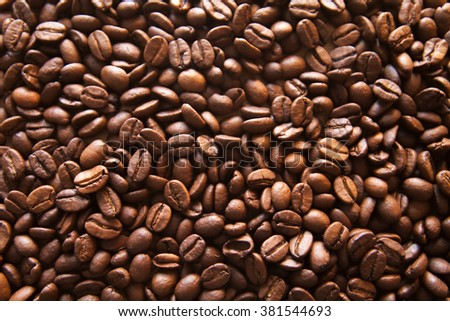 The texture of brown coffee beans - stock photo