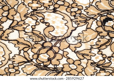 The texture of fabric lace.  Texture lace fabric. lace on white background studio. thin fabric made of yarn or thread. typically one of cotton or silk, made by looping,  - stock photo
