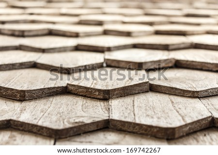 The texture of old wooden roof in Thailand - stock photo