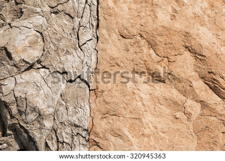 The texture of the two colored clay, vertical cut in a clay quarry - stock photo