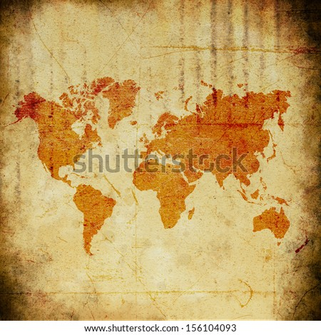 the texture, vintage background of the world map design on grunge paper - stock photo