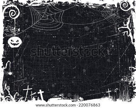 The textured background with Halloween themed frame, scary tree branches, spiderwebs ,a spooky looking pumpkin, and crosses make it the perfect backdrop for any Halloween design. Vector available. - stock photo