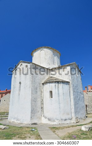 The 9th century byzantine church of the Holy Trinity, at Nin, near to Zadar, Croatia - stock photo