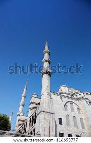 The 17th century Sultan Ahmed Mosque, better known in the West as the Blue Mosque. Istanbul. Turkey. - stock photo