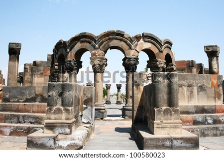 The 7th century Zvartnots Cathedral ruins in  Armenia, UNESCO World Heritage Site. - stock photo