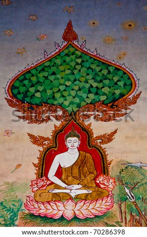 The Thai painting art  about buddha status on wall of the temple. This is traditional and generic style in Thailand. No any trademark or restrict matter in this photo. - stock photo