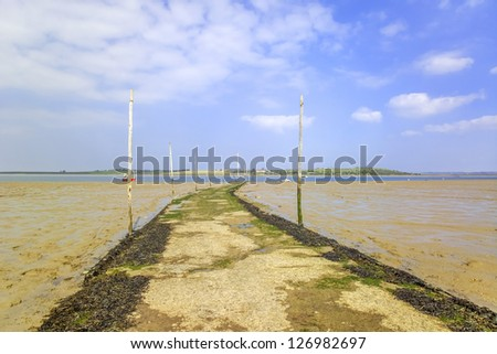 the thames estuary from the kent side essex in the distance - stock photo