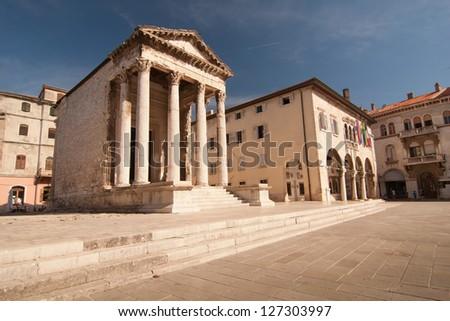 the the square in city Pula - Croatia - stock photo