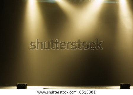 The theater lights with smoke - stock photo