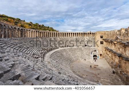 The Theatre of Aspendos Ancient City, Antalya - stock photo